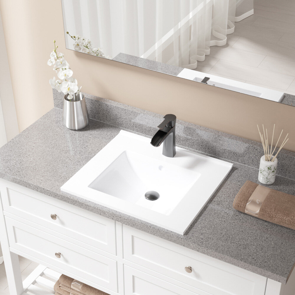 Mrdirect Vitreous China Rectangular Vessel Bathroom Sink With Faucet And Overflow Reviews Wayfair