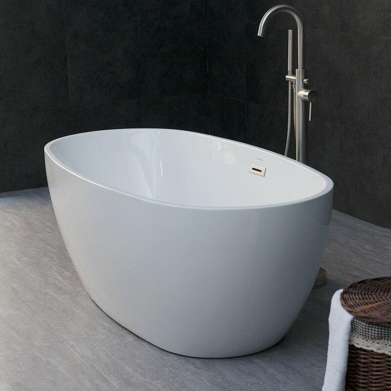 "orren ellis higgenbotham 59"" x 31"" freestanding soaking bathtub"