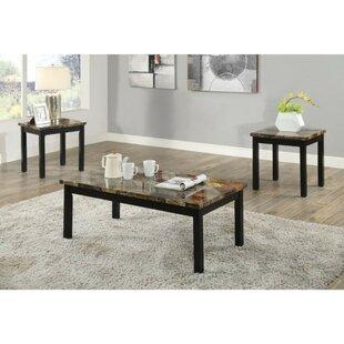 Fleur De Lis Living Screven Transitional Wood and Faux Marble 3 Piece Coffee Table Set