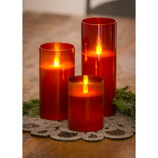 3 Piece Glass Unscented Flameless Candle Set
