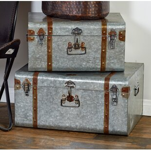 Best Galvanized Metal Trunk Set By Cole & Grey