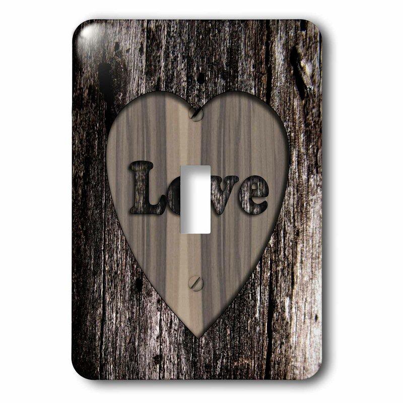3drose Wood I Mage Heart Love 1 Gang Toggle Light Switch Wall Plate Wayfair