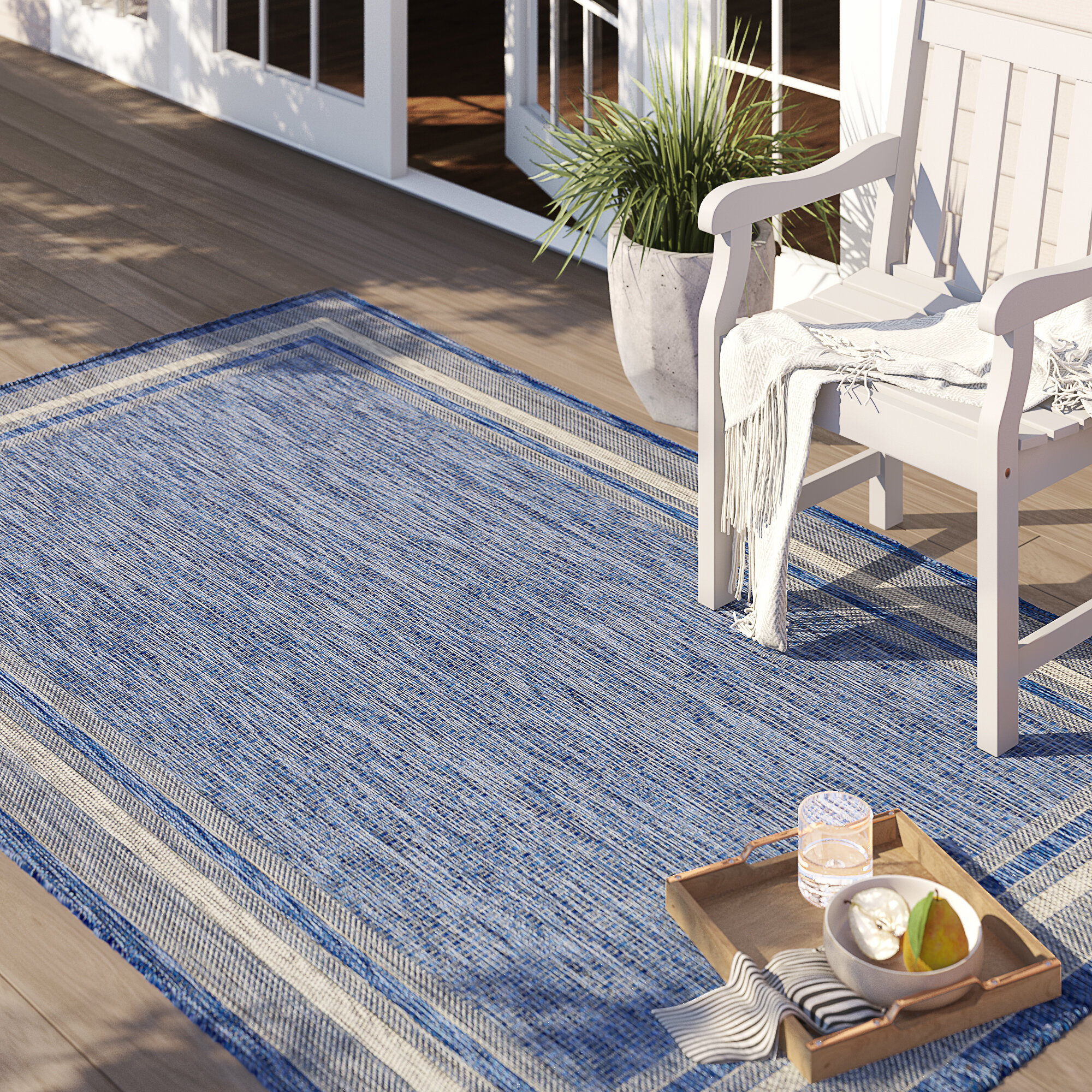 Picture of: Sol 72 Outdoor Delmont Blue Indoor Outdoor Area Rug Reviews