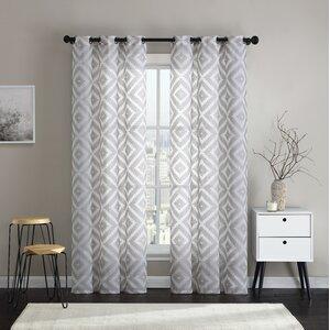 Brodersen Geometric Semi-Sheer Grommet Curtain Panel (Set of 2)