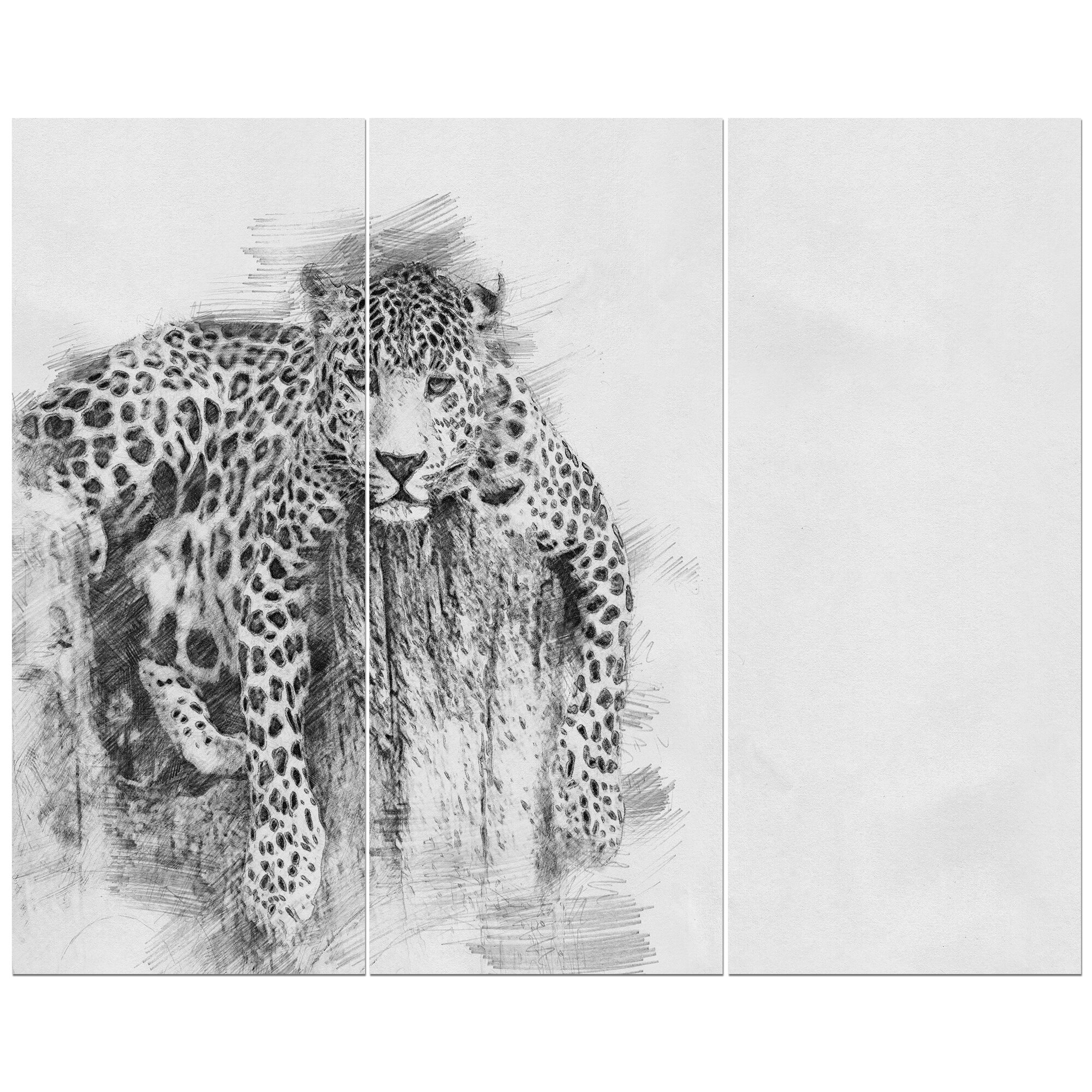 East Urban Home Leopard In Black And White Pencil Sketch Drawing Print Multi Piece Image On Wrapped Canvas Wayfair