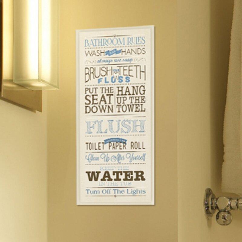 Andover Mills \'Bathroom Rules\' Textual Art on Wood & Reviews | Wayfair