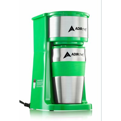 AdirChef  Grab and Go Personal Coffee Maker with 15 oz. Travel Mug  Color: Green