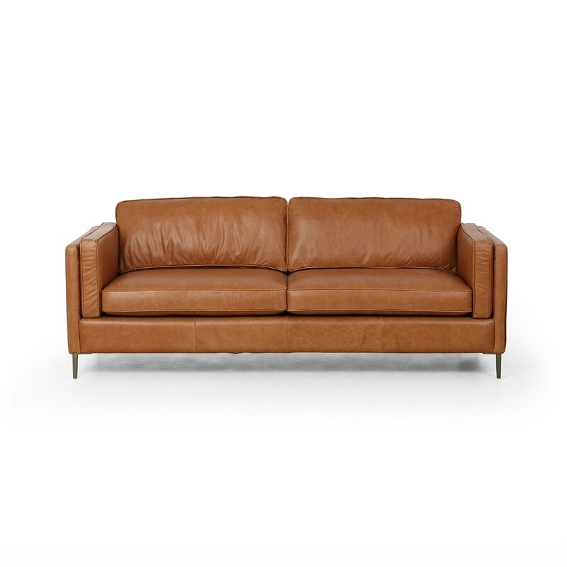 "Harman Leather 84"" Square Arm Sofa"