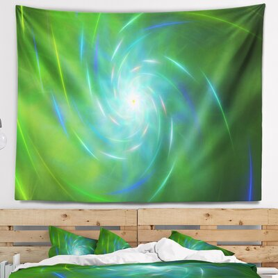 Abstract Green Fractal Whirlpool Design Tapestry East Urban Home Size: 32 H x 39 W