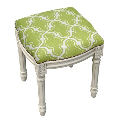 123 Creations Trellis Linen Upholstered Vanity Stool Color Chartreuse Green