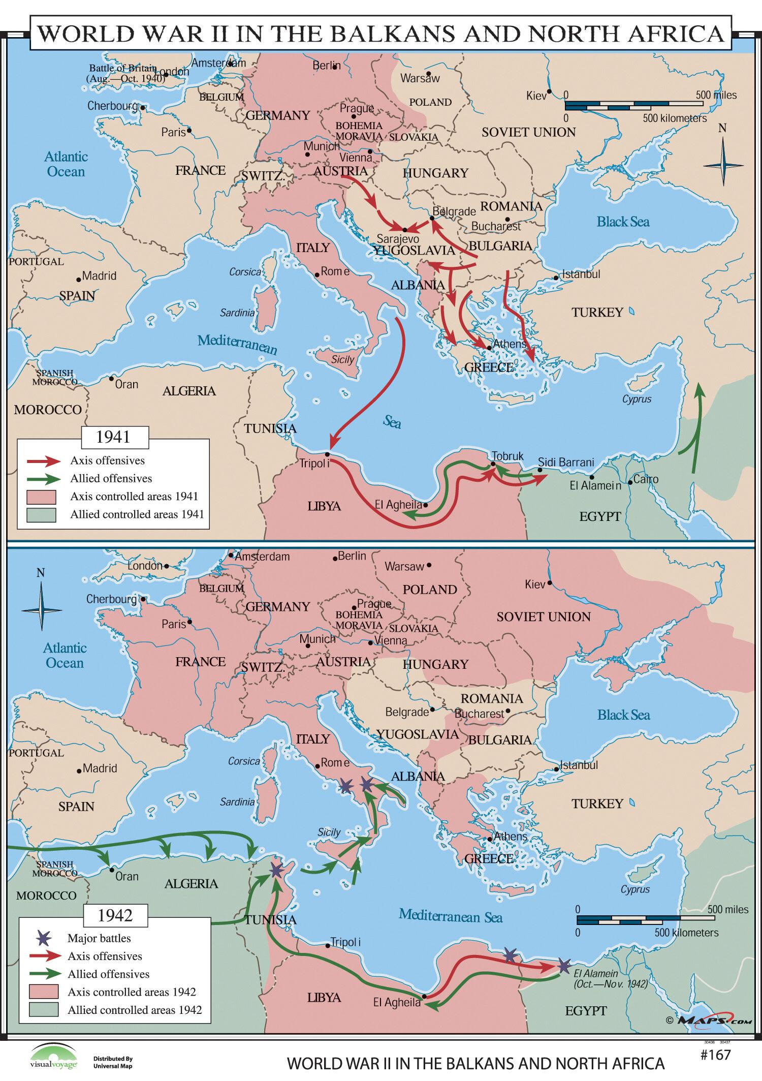 North Africa World Map Universal Map World History Wall Maps   World War II in Balkans
