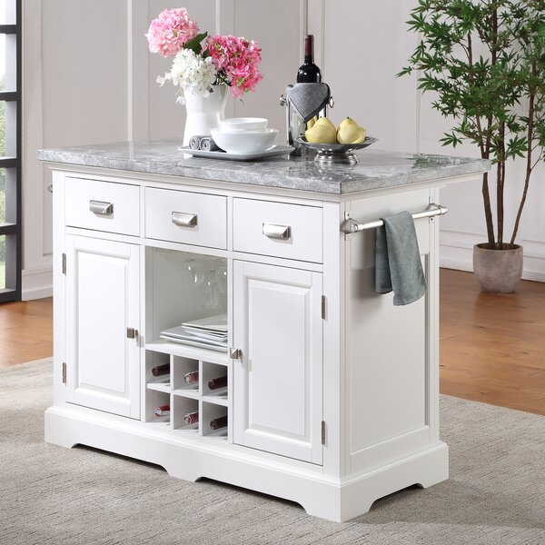 Red Barrel Studio Arantza Kitchen Island With Marble Top Reviews Wayfair