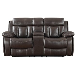 Darby Home Co Poplin Leather Reclining Sofa
