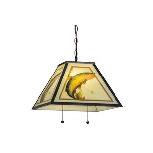 Meyda Tiffany Reverse Painted Trout 2-Light Pendant