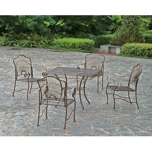 Nocona 5 Piece Iron Patio Dining Set by F..