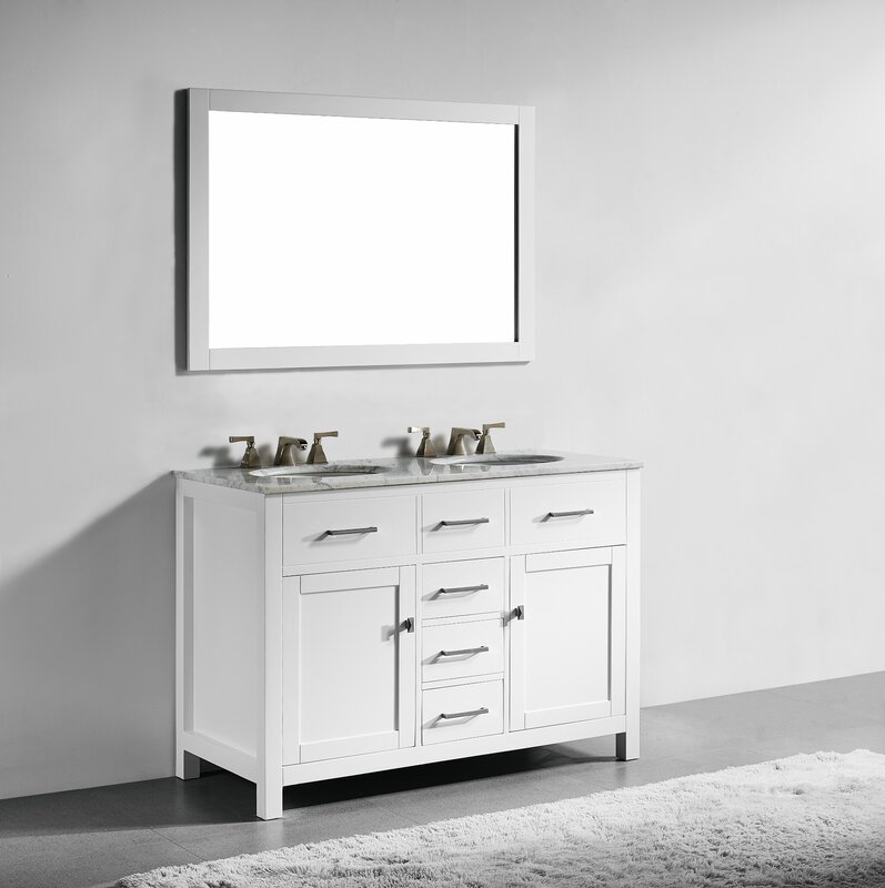 double sink vanity white. Sverre 48  Double Bathroom Vanity with Mirror Vanities You ll Love Wayfair