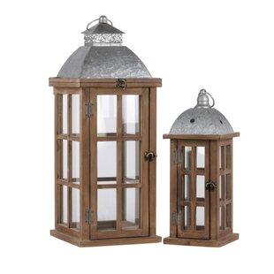 2 Piece Wood Lantern Set by Gracie Oaks