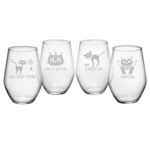 Scaredy Cat 19 oz. Stemless Wine Glass
