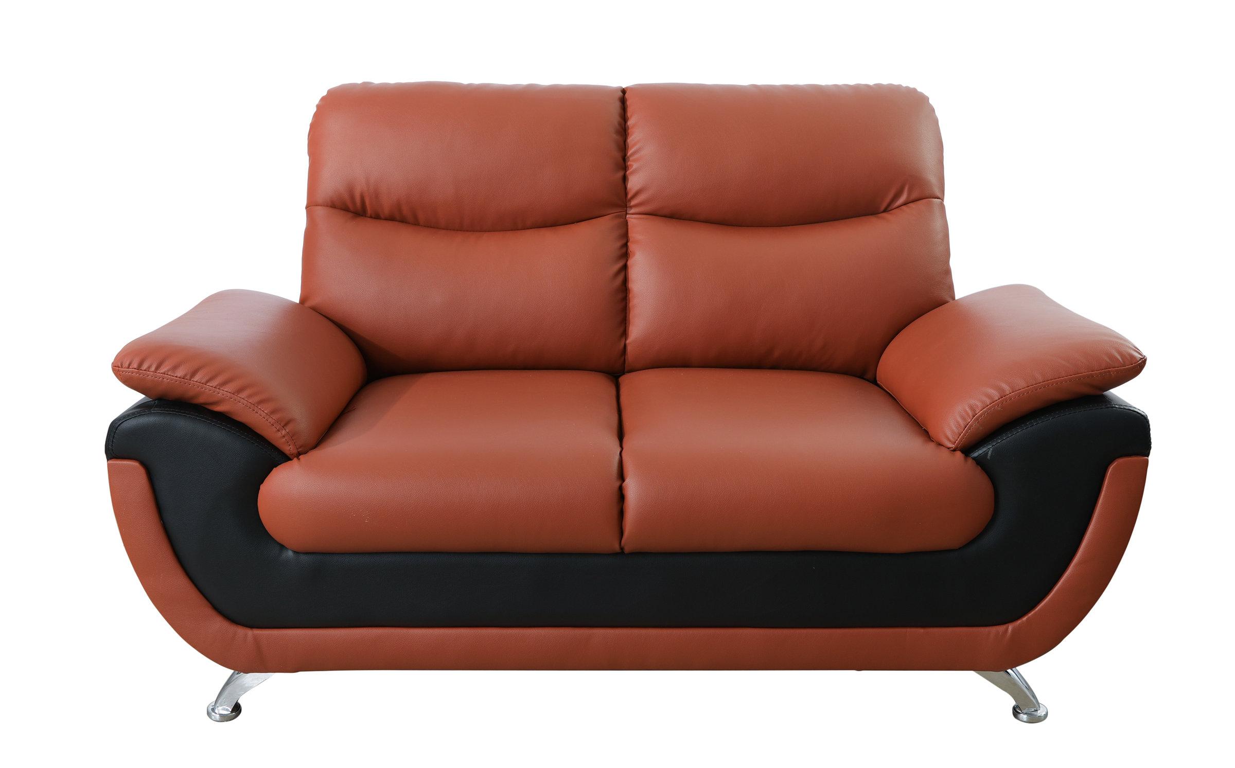 Orren Ellis Nevarez 61 Wide Faux Leather Pillow Top Arm Loveseat Wayfair
