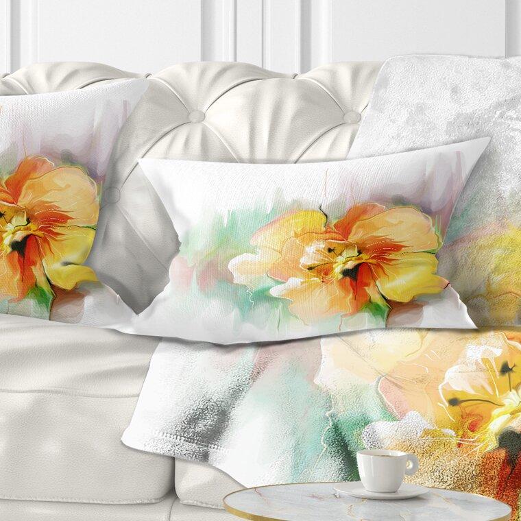 East Urban Home Floral Beautiful Flower Drawing Lumbar Pillow Wayfair