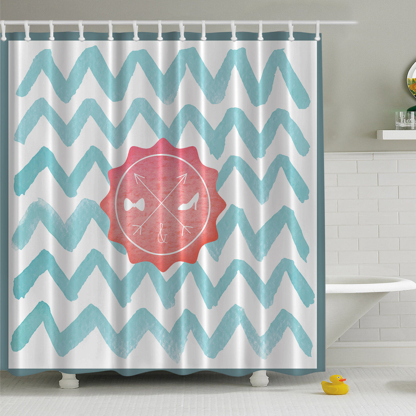 Ambesonne His And Her Bathroom On Chevron Print Shower Curtain