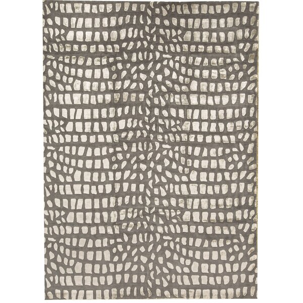 Bokara Rug Co Inc Himalayan Abstract Hand Knotted Gray Ivory Area Rug Wayfair