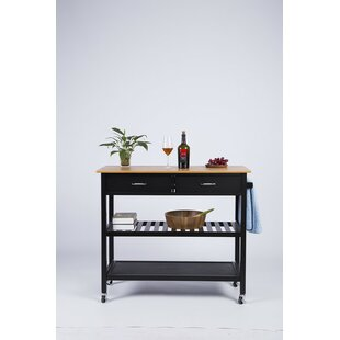 Langlois Kitchen Cart with Bamboo Top Red Barrel Studio