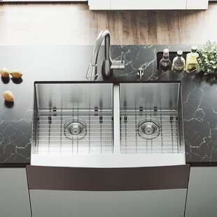 VIGO 33 inch Farmhouse Apron 60/40 Double Bowl 16 Gauge Stainless Steel Kitchen Sink with Graham Stainless Steel Faucet, Two Grids, Two Strainers and Soap Dispenser