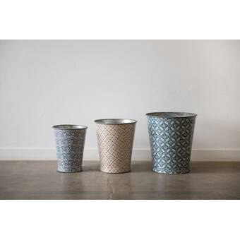 Large Decorative 3 Piece Metal Bucket Set Birch Lane