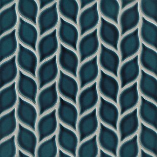 Park Place Foliole Ceramic Mosaic Tile in Dark Blue