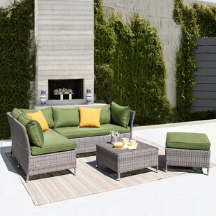 Gentile 4 Piece Rattan Sectional Seating Group with Cushions