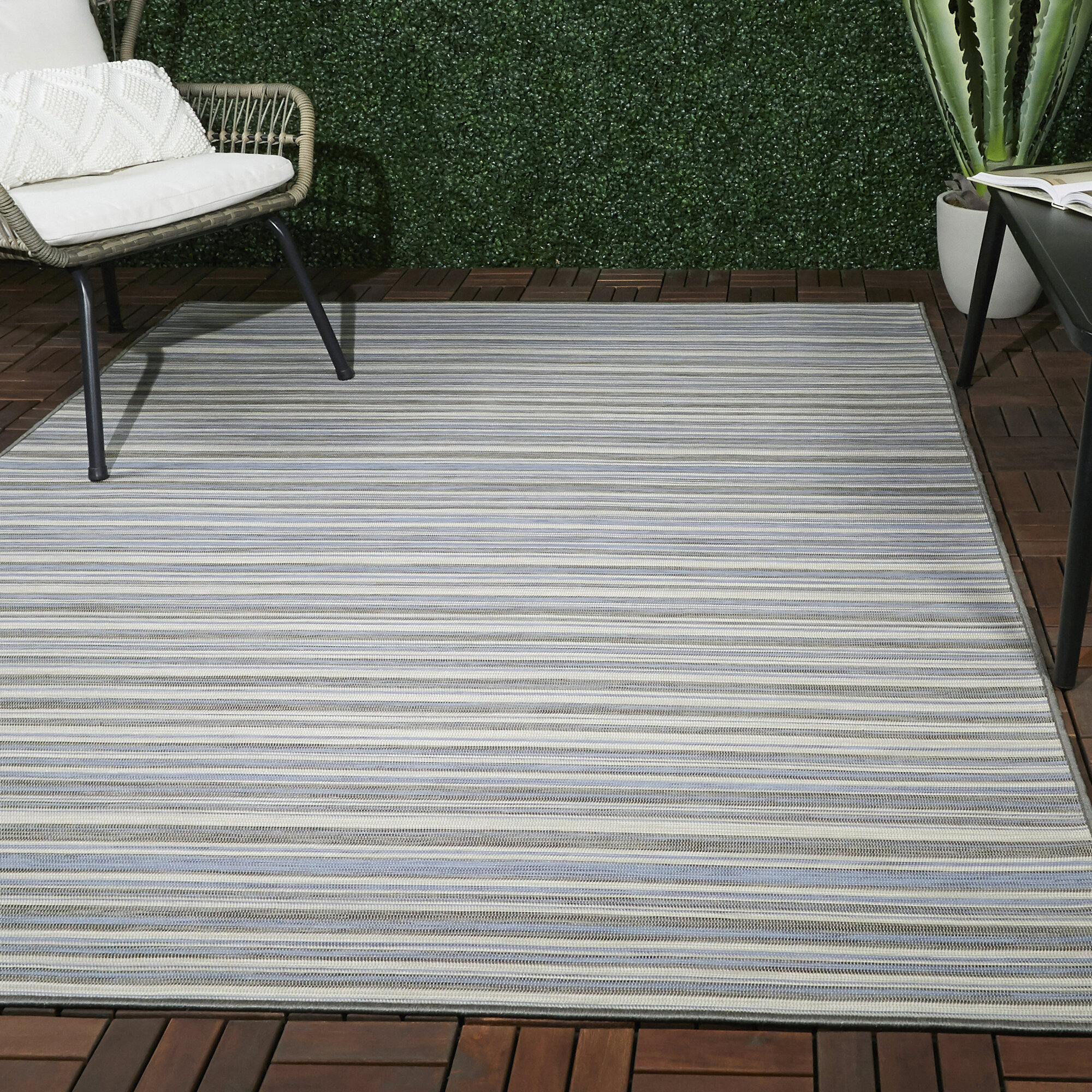 Rosecliff Heights Sigmon Striped Blue Gray Cream Indoor Outdoor Area Rug Reviews Wayfair