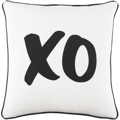 Ivy Bronx Yahya XO Cotton Throw Pillow Cover Color: White/ Black