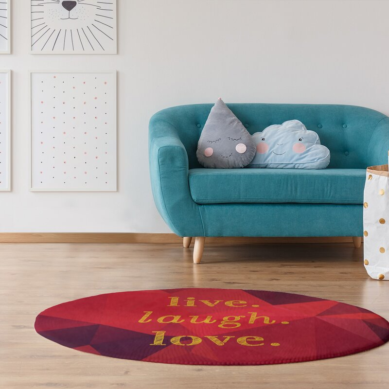 East Urban Home Faux Gemstone Live Laugh Love Quote Poly Chenille Rug Wayfair