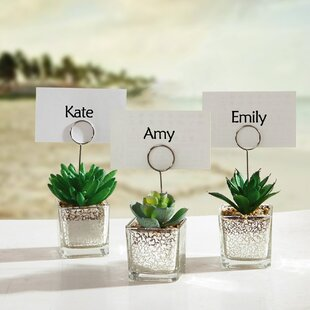 Succulents In Pot Table Place Card Holder (Set Of 6)