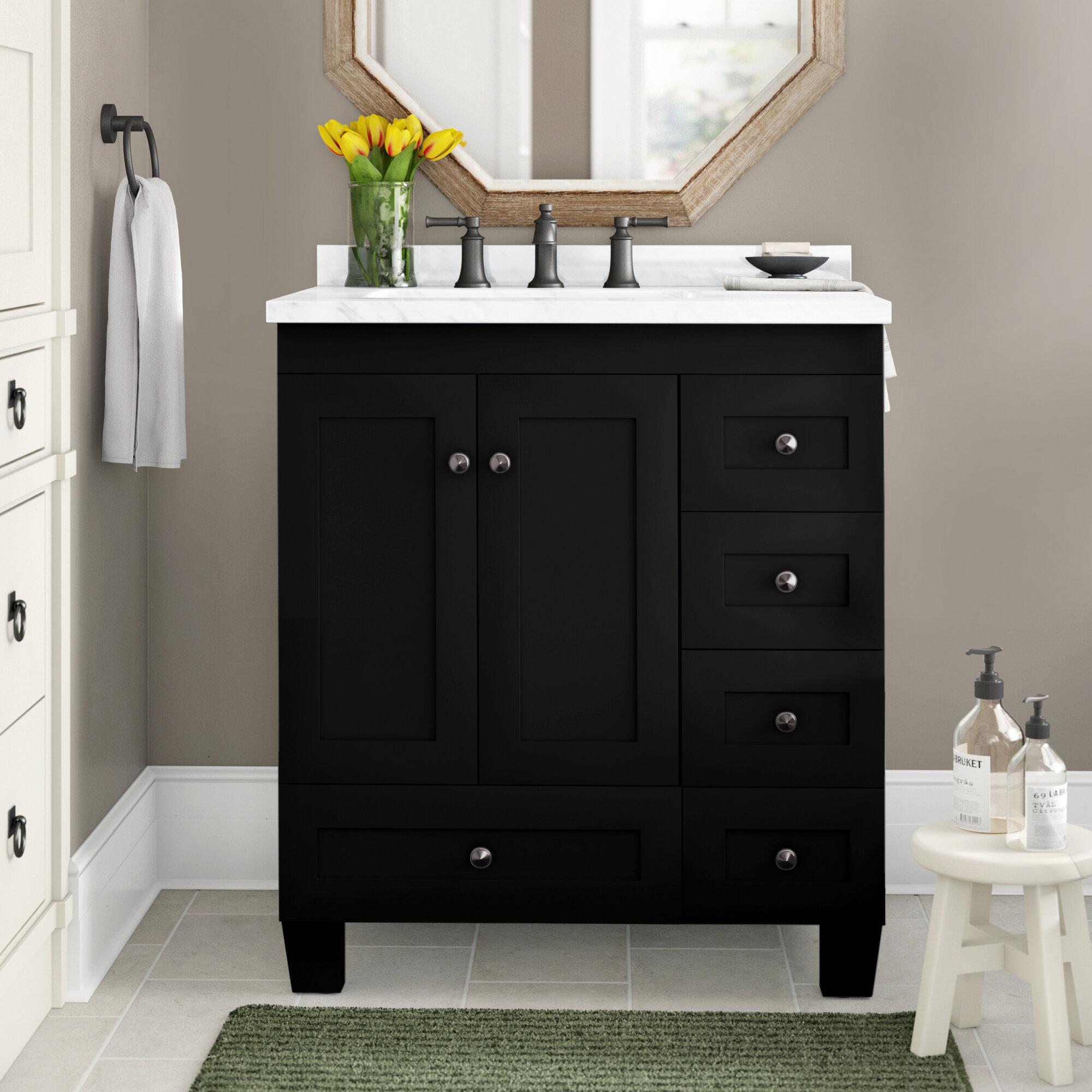 24 Inch Premium Grey Bathroom Vanity Sink Combo,Bath Vanity with Sink Mdern Bathroom Vanity Cabinet with Ceramic Sink,Single Bathroom Vanity Set with 1 Shelf 2 Drawers