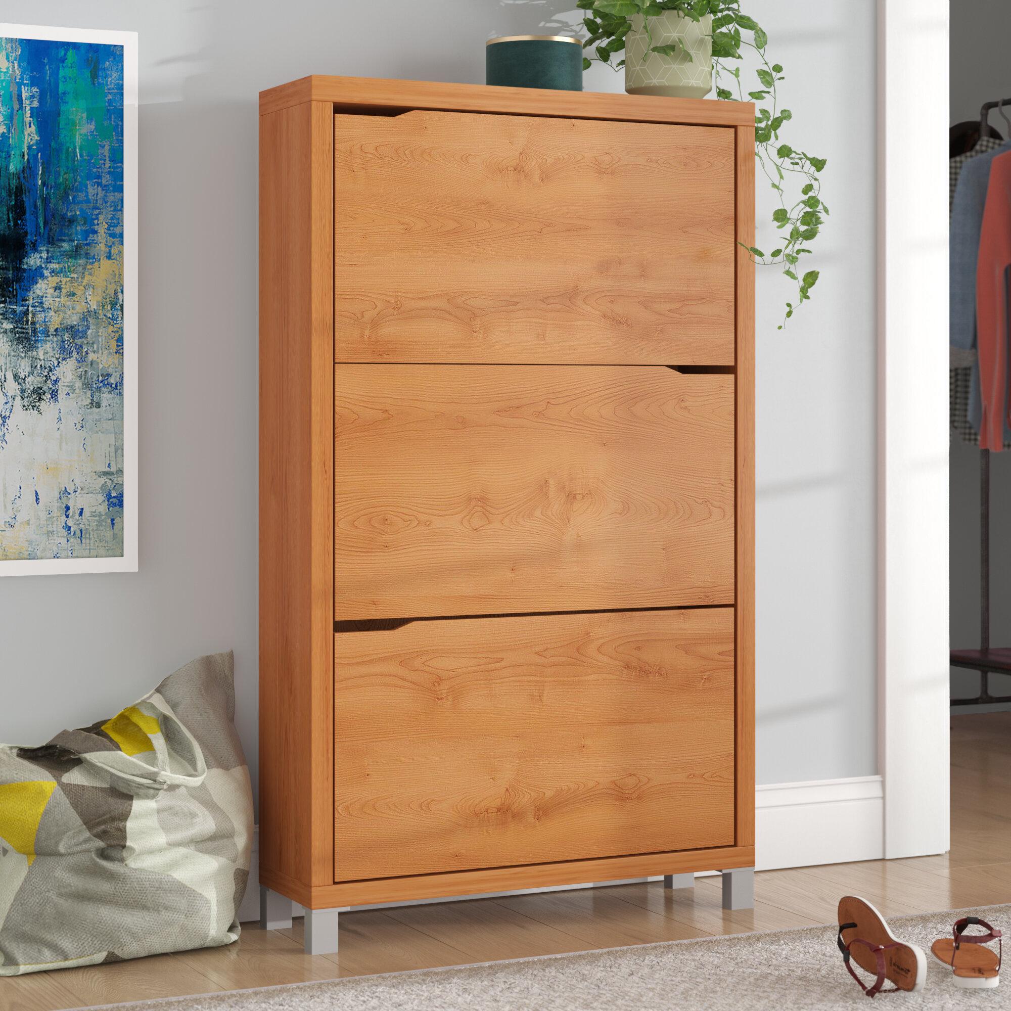 Brayden studio cade modern 18 pair shoe storage cabinet reviews wayfair