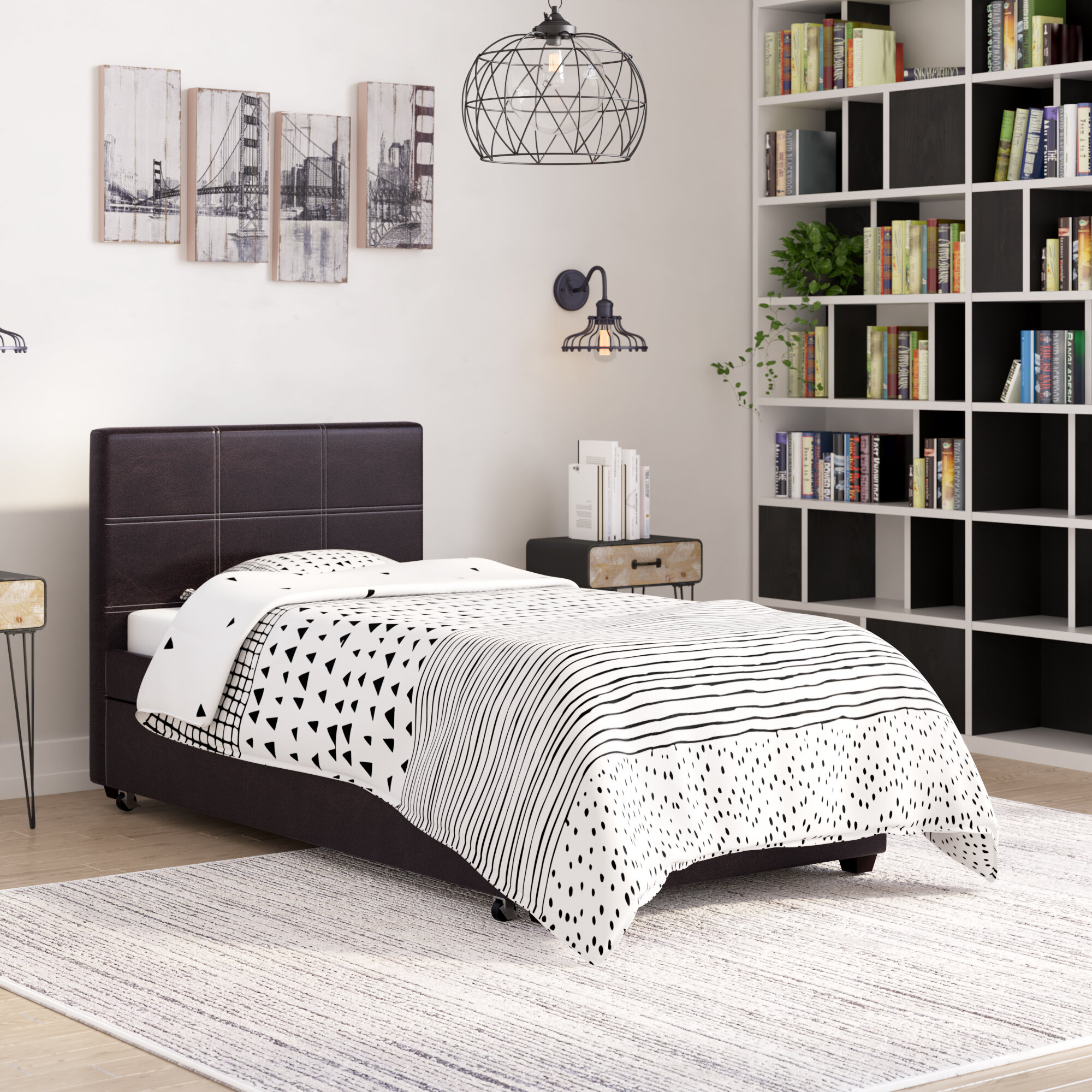 Renee Contemporary Upholstered Twin Bed Platform