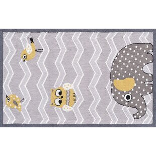 Gray Purple Elephant And Bird Area Rug