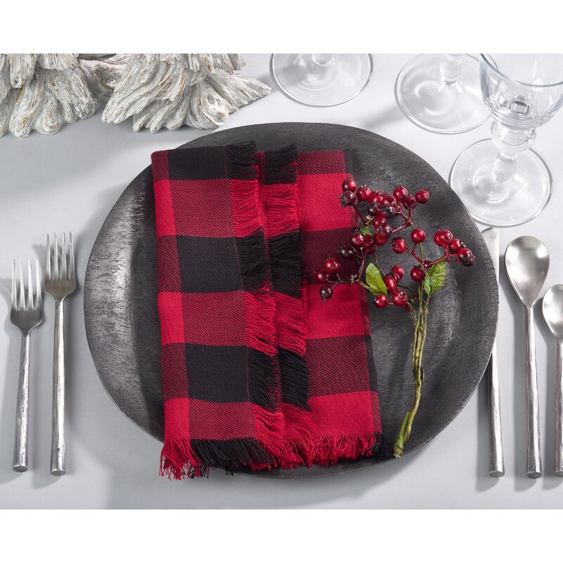 "Fitzroy Fringed Buffalo Everyday 20"" Napkin #holidaydecor #wintertable #buffaloplaid #redandblack #napkins"