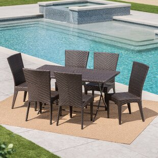 Orren Ellis Sharvil Outdoor Wicker 7 Piece Dining Set