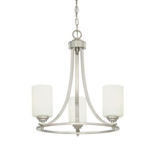 Castano 3-Light Satin Nickel Shaded Chandelier