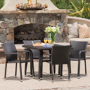 Georgene Outdoor Wicker 5 Piece Dining Se..
