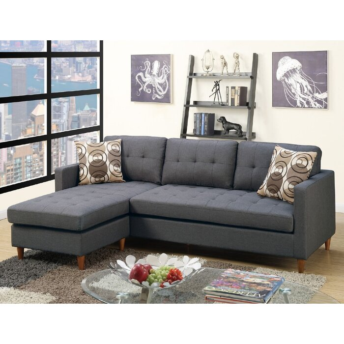 "Haskell 86"" Reversible Sofa & Chaise Sectional with Ottoman"