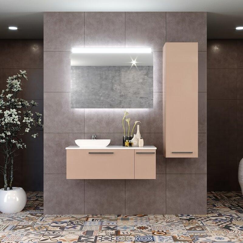"ebern designs tornillo 48"" wall-mounted single bathroom vanity set with mirror   wayfair"