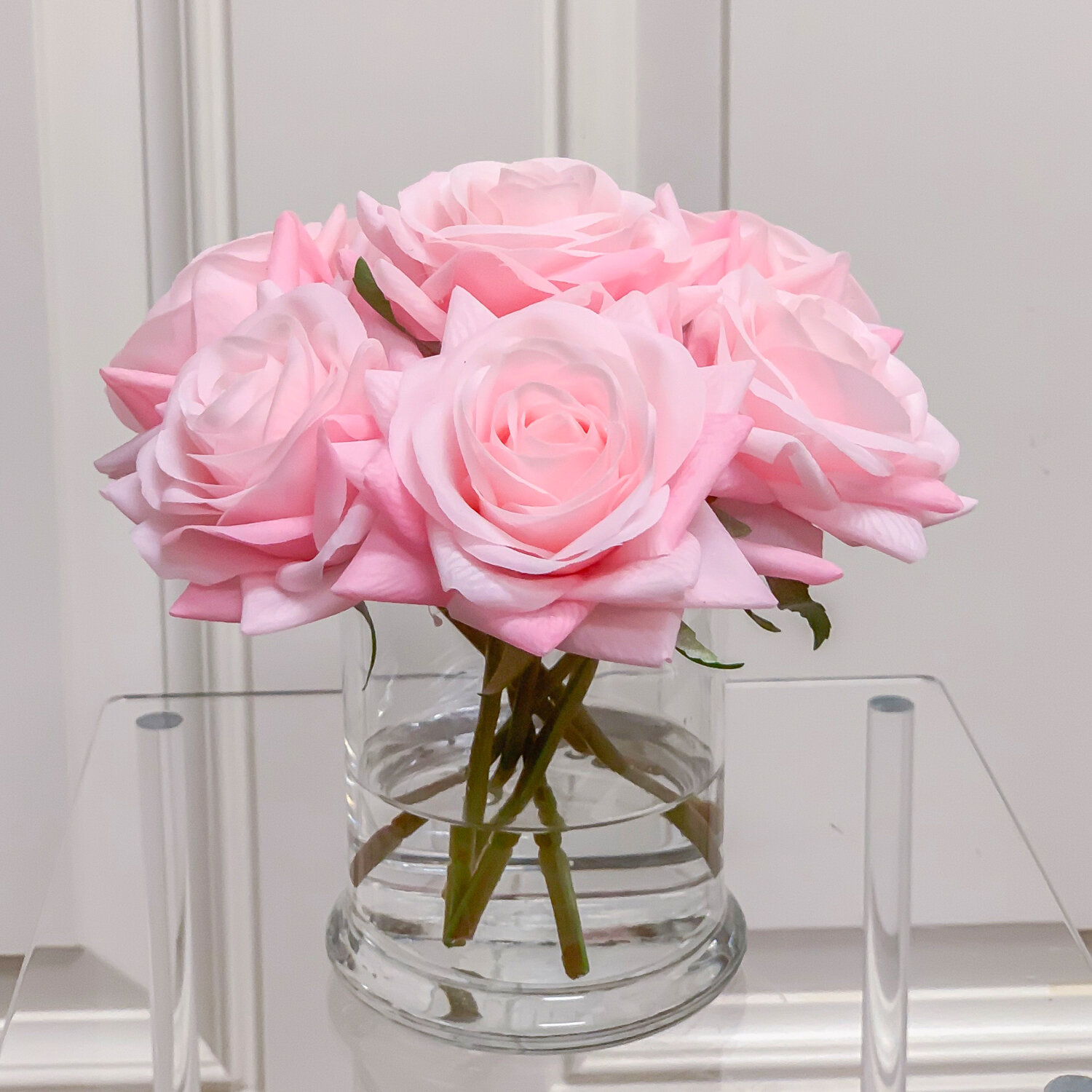 Latitude Run Real Touch Roses Floral Arrangements In Glass Vase Reviews Wayfair