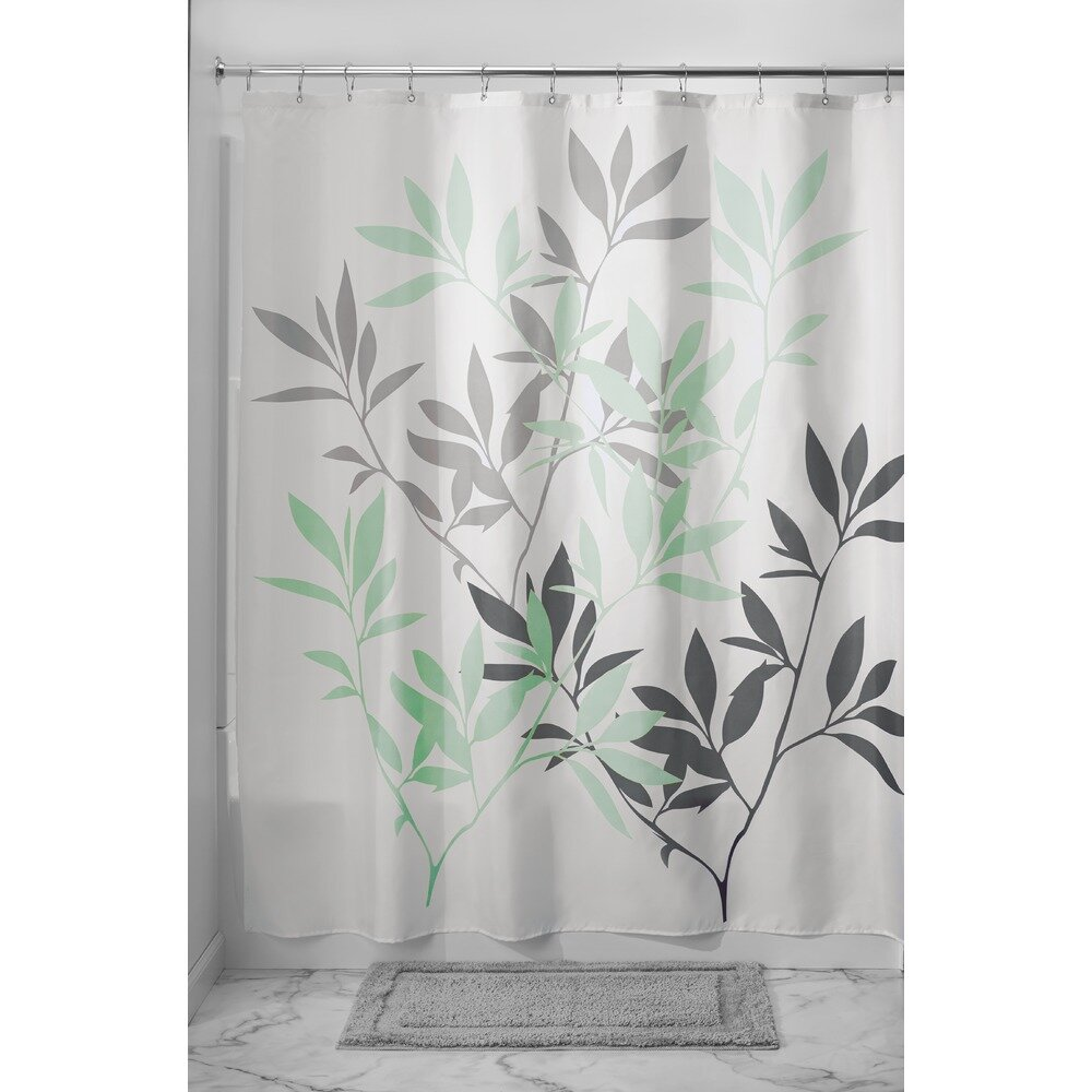 Black And White Flower Shower Curtain.  InterDesign Leaves Shower Curtain Reviews Wayfair