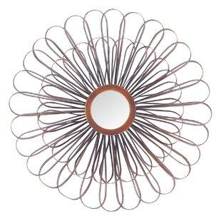 Latitude Run Metal Sun Flower Wall Accent Mirror