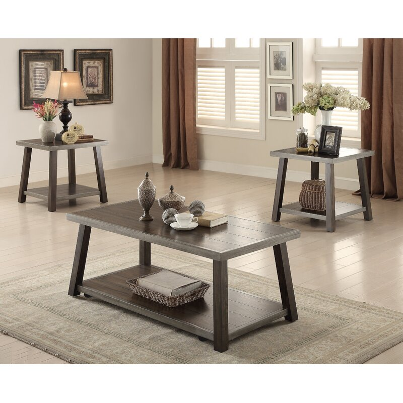 Canora Grey Rondeau Reclaimed Wood Look 3 Piece Coffee Table Set