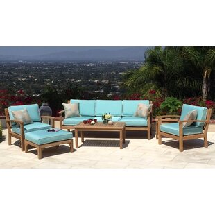 Waterford 5 Piece Teak Sunbrella Sofa Set with Cushions